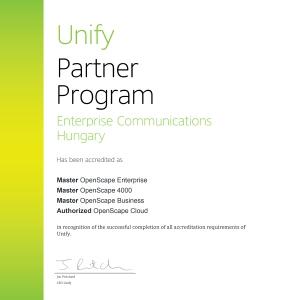Ismét meghosszabbított Unify Master 3 szintű partnerség!